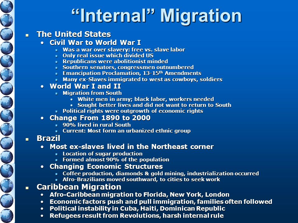 Internal Migration The United States Brazil Caribbean Migration
