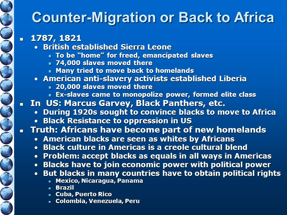 Counter-Migration or Back to Africa