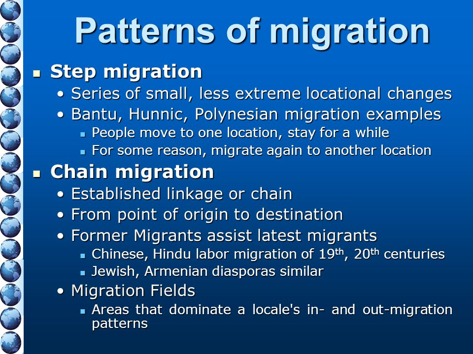 Patterns of migration Step migration Chain migration