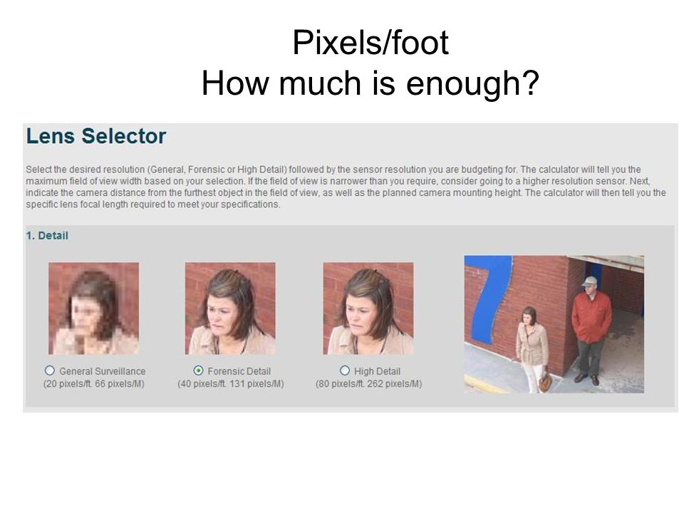 Pixels/foot How much is enough