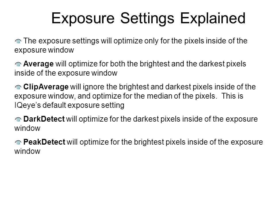 Exposure Settings Explained