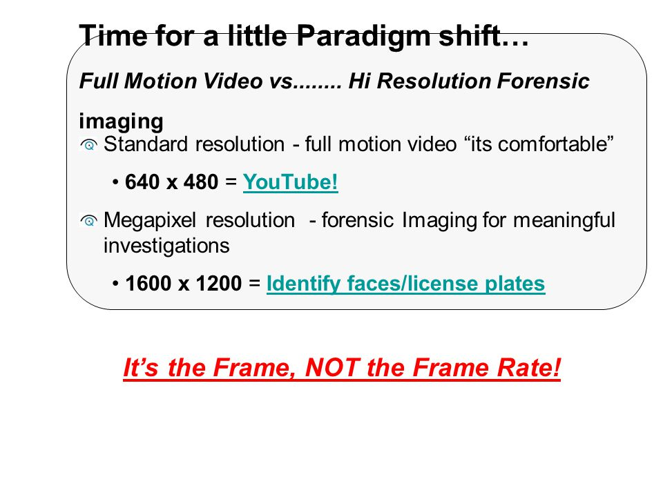 Time for a little Paradigm shift… Full Motion Video vs