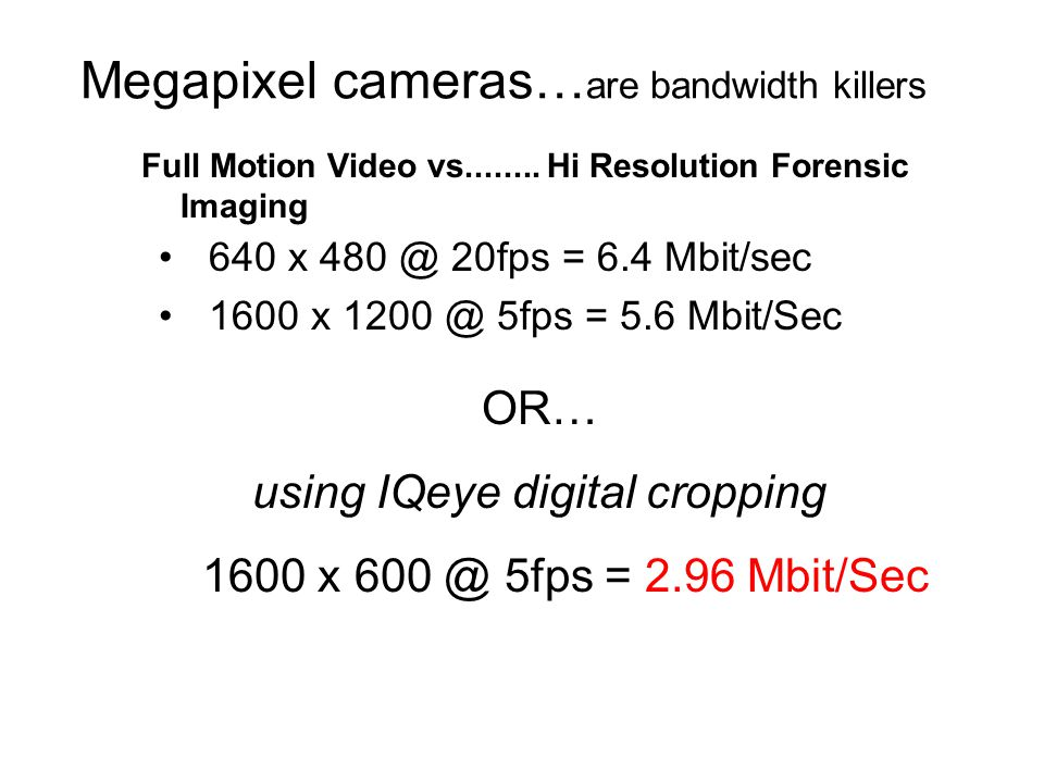 Megapixel cameras…are bandwidth killers