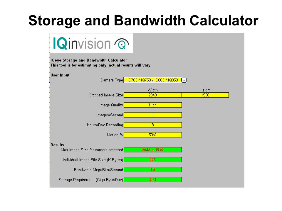 Storage and Bandwidth Calculator