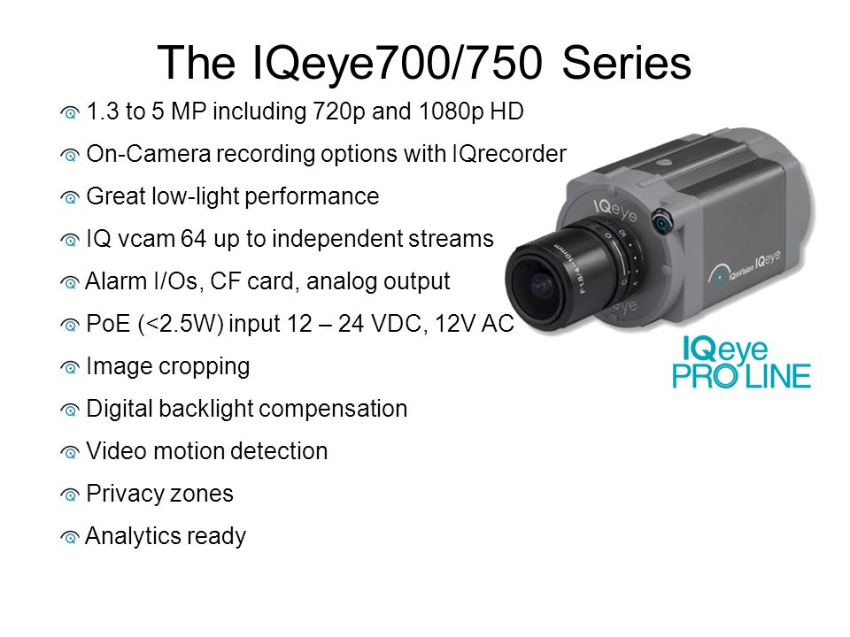 The IQeye700/750 Series 1.3 to 5 MP including 720p and 1080p HD