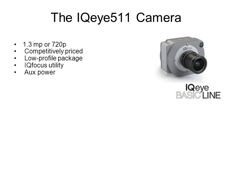 The IQeye511 Camera 1.3 mp or 720p Competitively priced