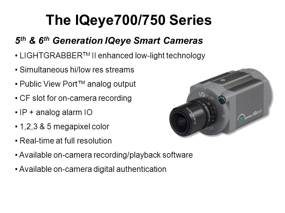 The IQeye700/750 Series 5th & 6th Generation IQeye Smart Cameras