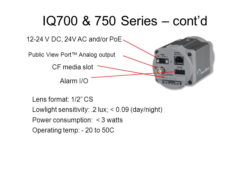 IQ700 & 750 Series – cont'd 12-24 V DC, 24V AC and/or PoE