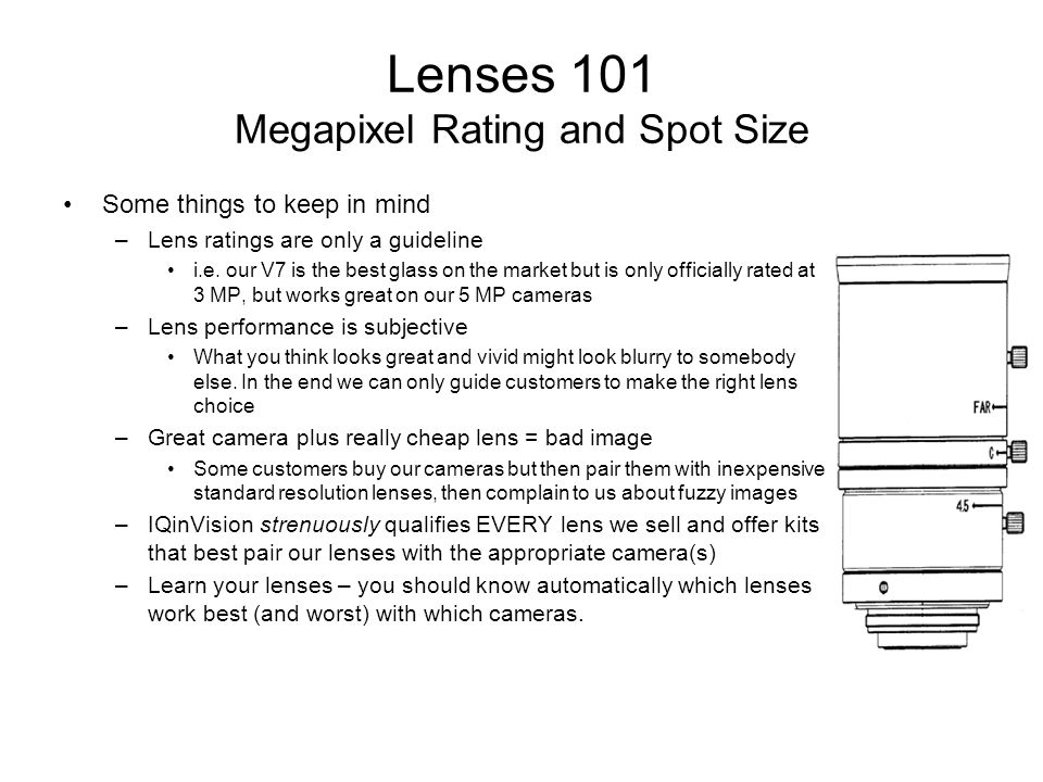 Lenses 101 Megapixel Rating and Spot Size