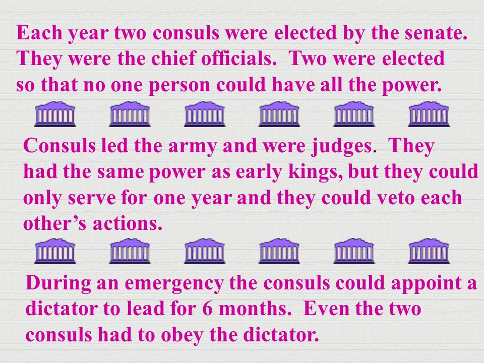 Each year two consuls were elected by the senate.