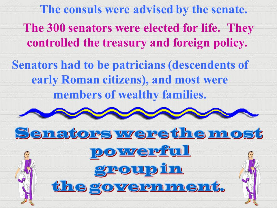 The consuls were advised by the senate.