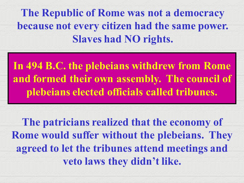 The Republic of Rome was not a democracy