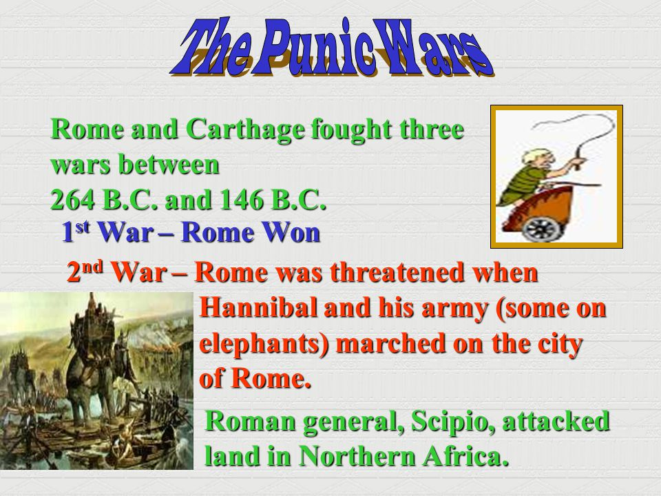 The Punic Wars Rome and Carthage fought three wars between