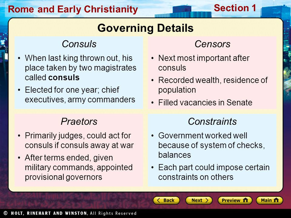 Governing Details Consuls Censors Praetors Constraints