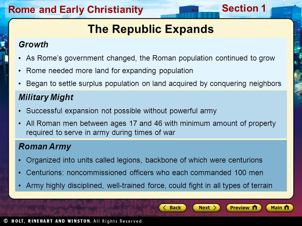 The Republic Expands Growth Military Might Roman Army