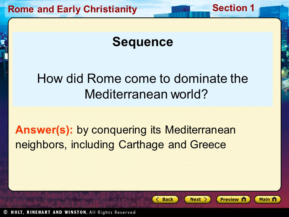 How did Rome come to dominate the Mediterranean world