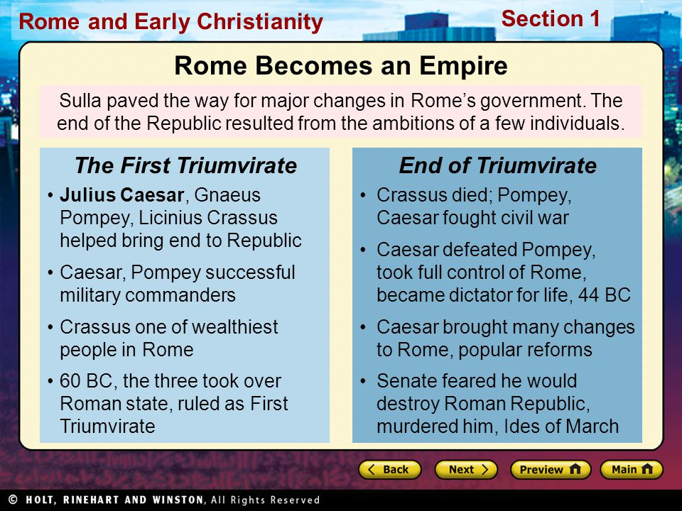 Rome Becomes an Empire The First Triumvirate End of Triumvirate