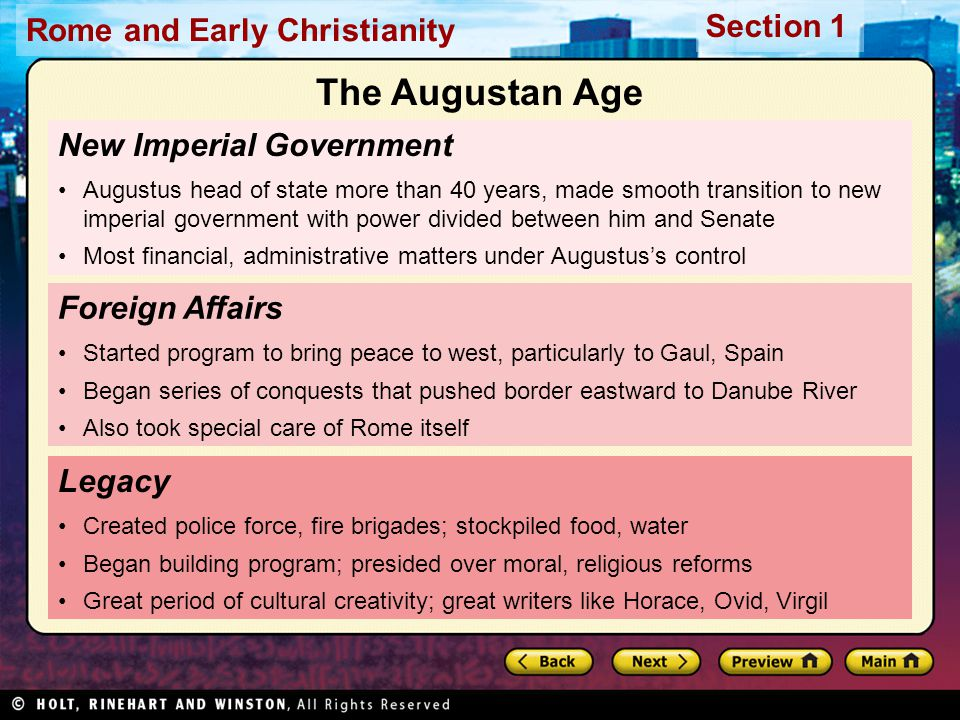 The Augustan Age New Imperial Government Foreign Affairs Legacy