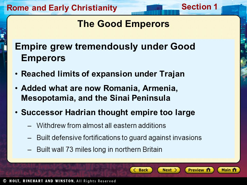 Empire grew tremendously under Good Emperors