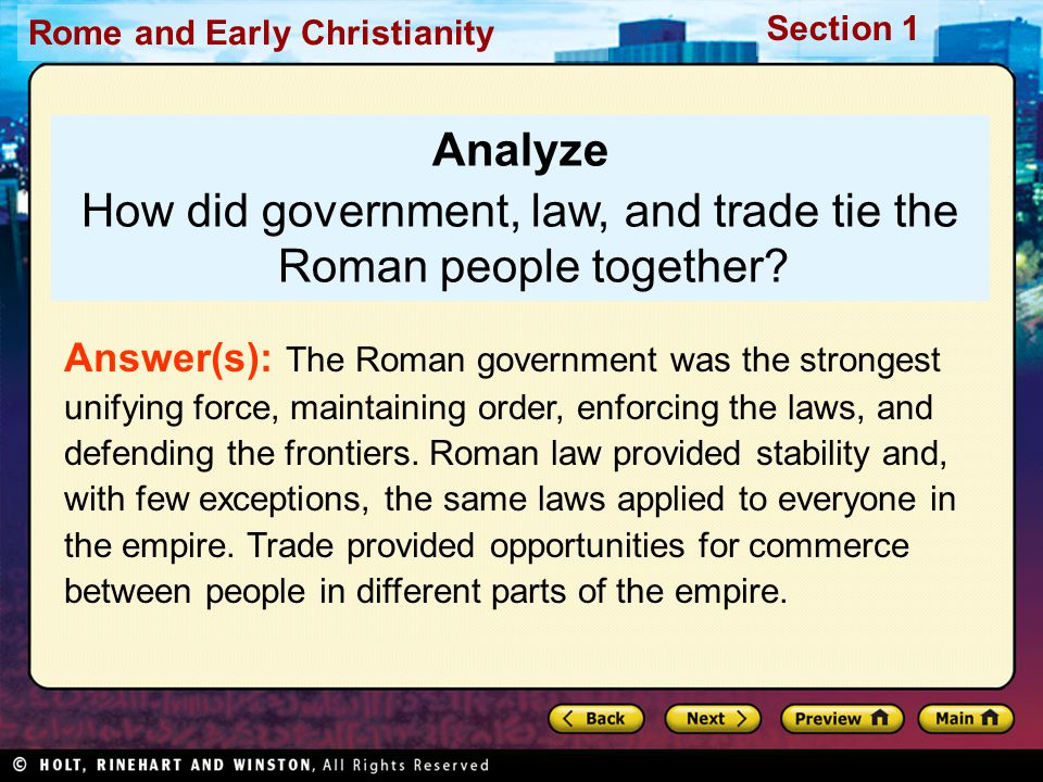 How did government, law, and trade tie the Roman people together