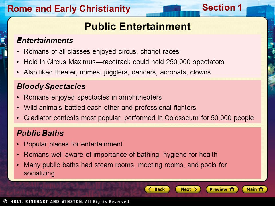 Public Entertainment Entertainments Bloody Spectacles Public Baths