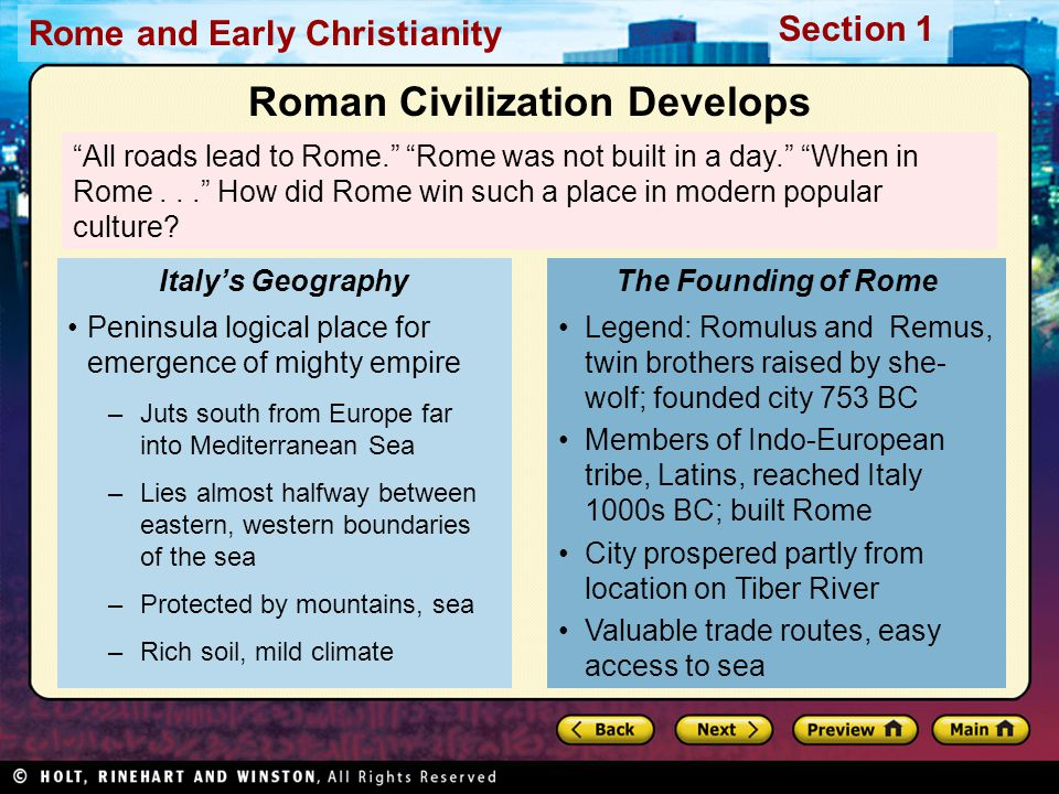Roman Civilization Develops