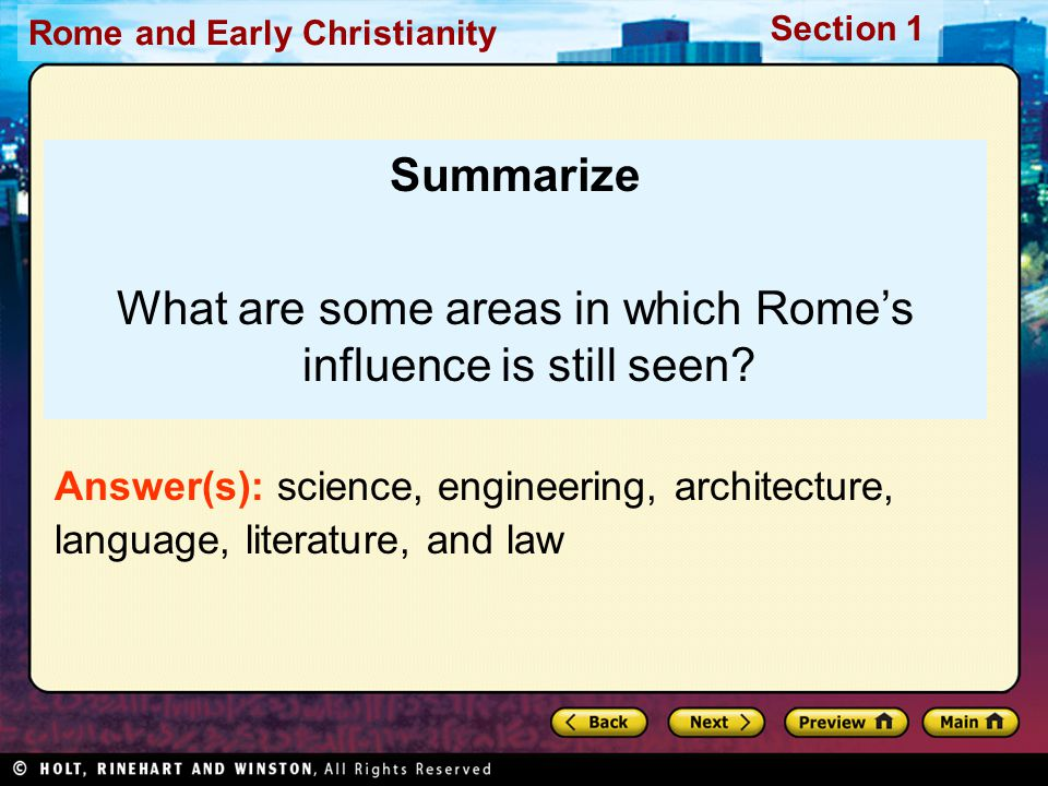What are some areas in which Rome's influence is still seen