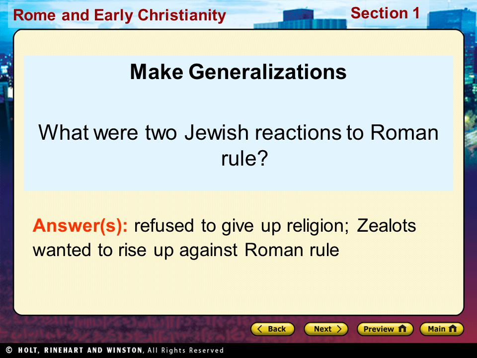 What were two Jewish reactions to Roman rule