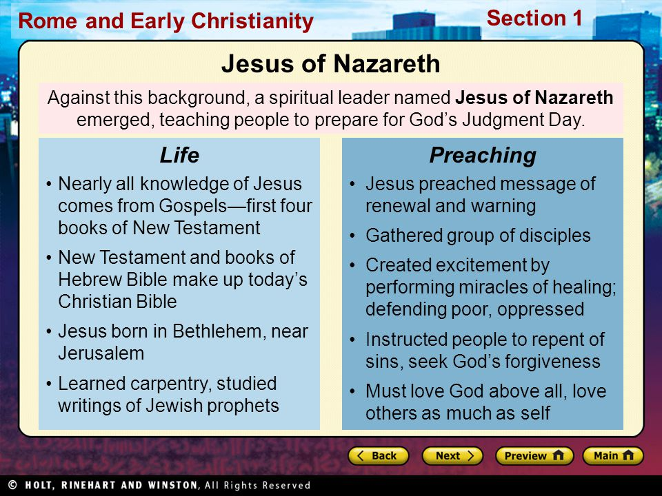 Jesus of Nazareth Life Preaching