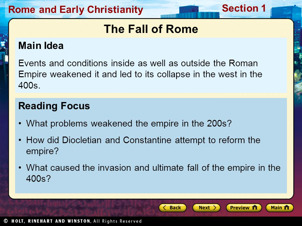 The Fall of Rome Main Idea Reading Focus