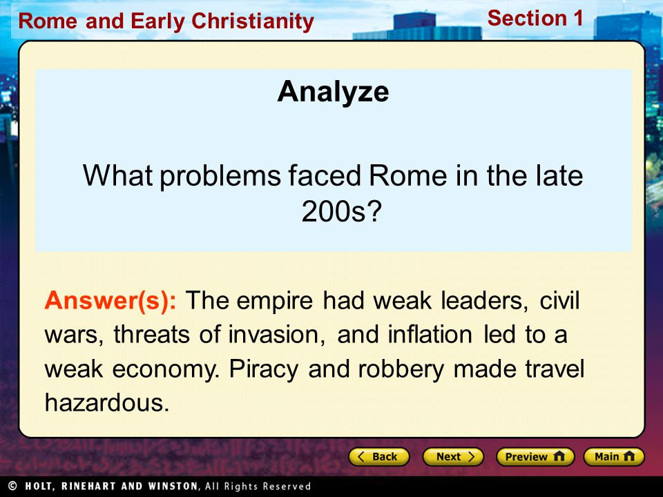 What problems faced Rome in the late 200s