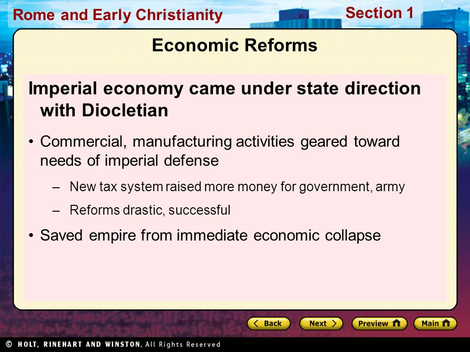 Imperial economy came under state direction with Diocletian