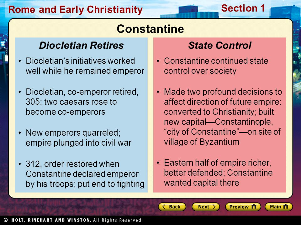 Constantine Diocletian Retires State Control