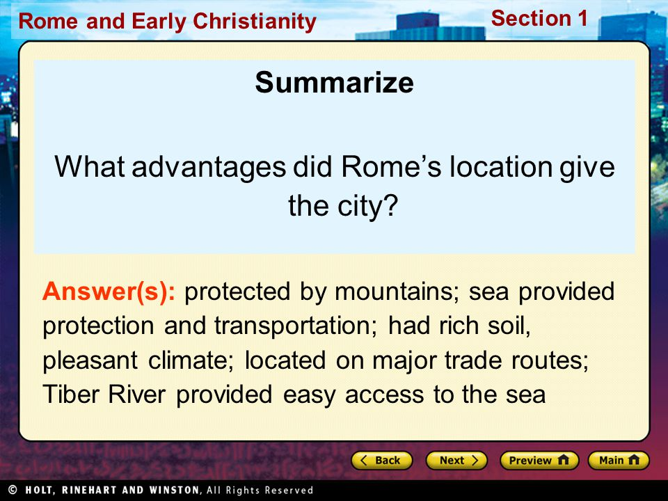 What advantages did Rome's location give the city