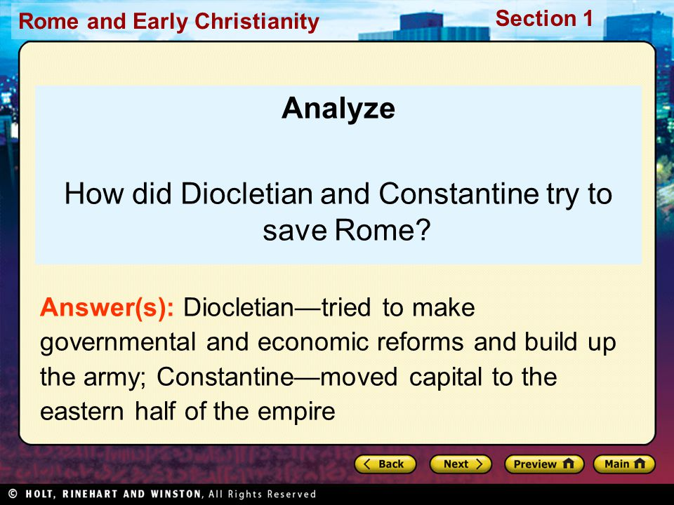 How did Diocletian and Constantine try to save Rome
