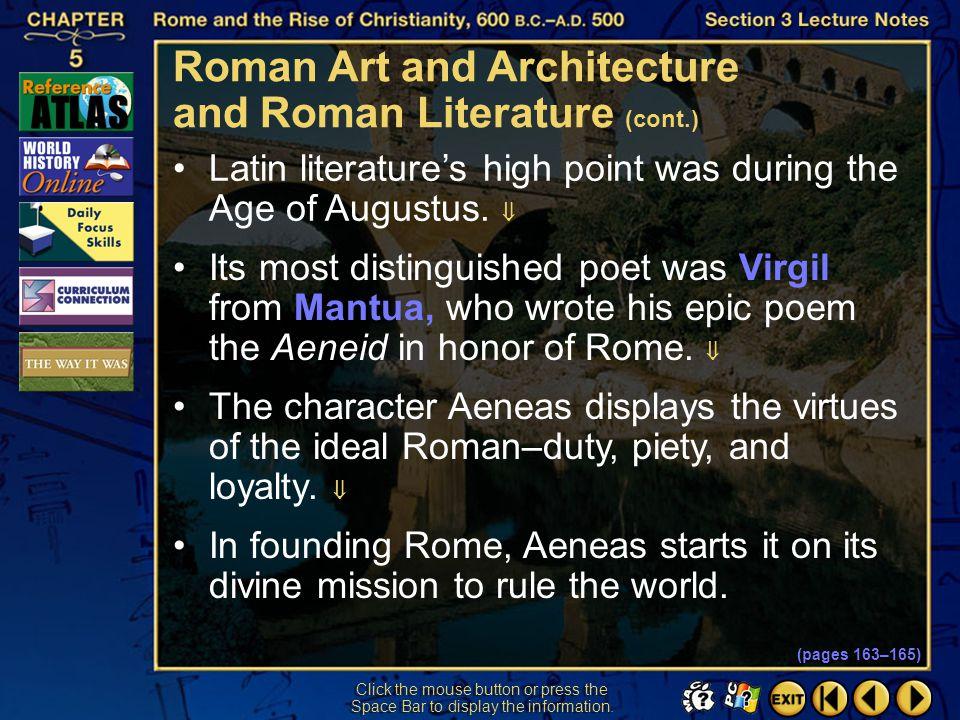 Roman Art and Architecture and Roman Literature (cont.)