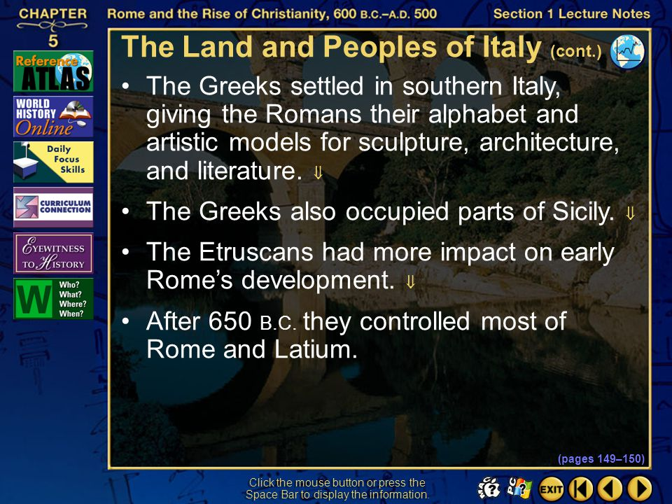 The Land and Peoples of Italy (cont.)