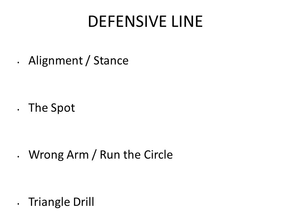 DEFENSIVE LINE Alignment / Stance The Spot Wrong Arm / Run the Circle