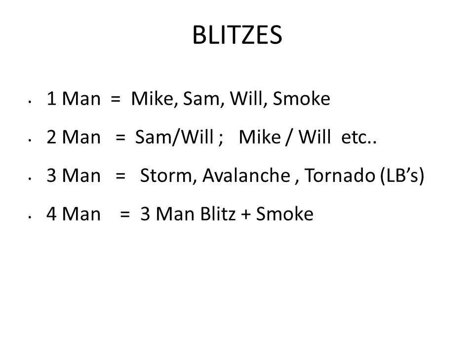 BLITZES 1 Man = Mike, Sam, Will, Smoke