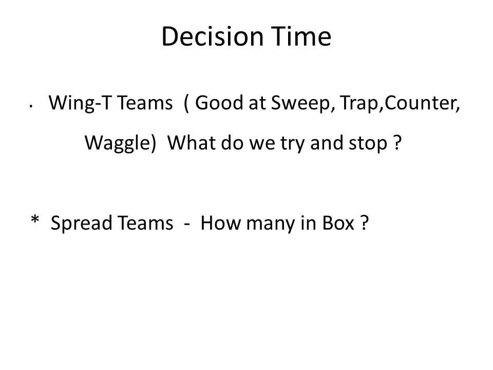 Decision Time Wing-T Teams ( Good at Sweep, Trap,Counter,
