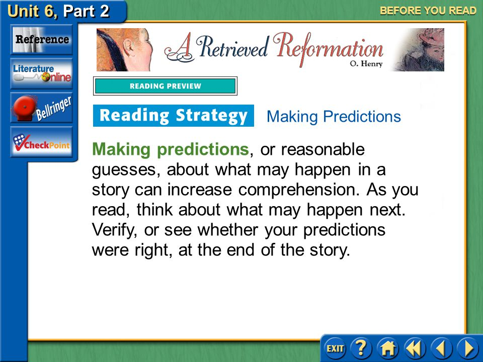 BEFORE YOU READ Making Predictions.