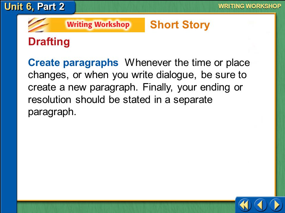 WRITING WORKSHOP Short Story. Drafting.