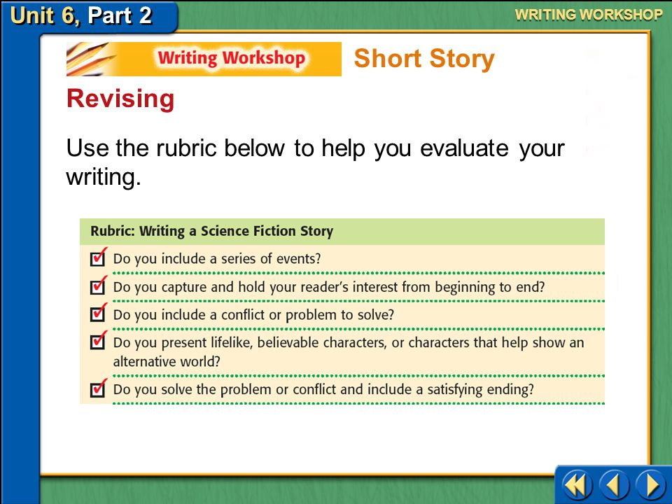 WRITING WORKSHOP Short Story. Revising. Use the rubric below to help you evaluate your writing.