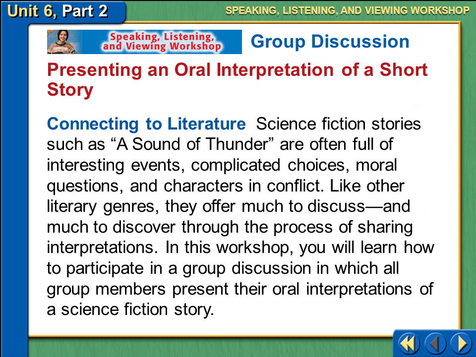 Presenting an Oral Interpretation of a Short Story