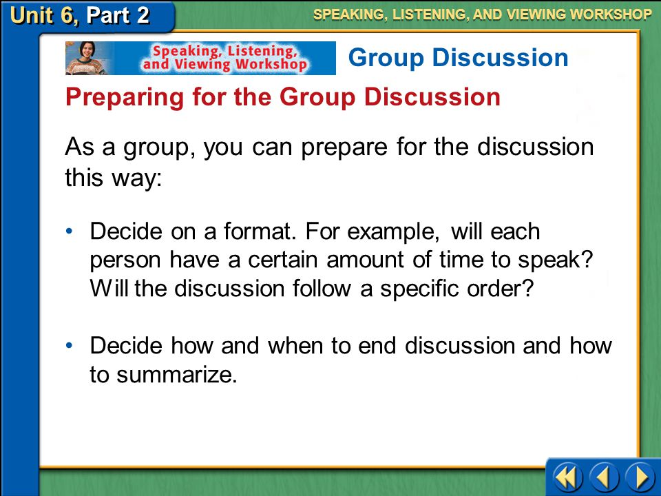 Preparing for the Group Discussion