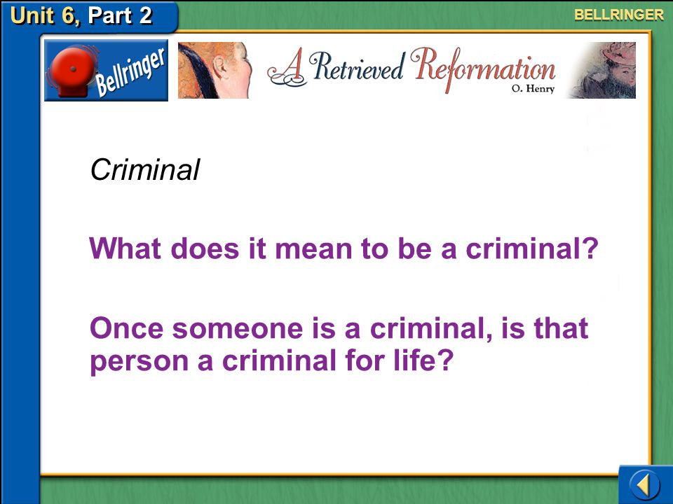 What does it mean to be a criminal