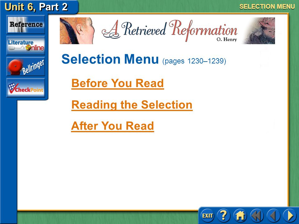 Selection Menu (pages 1230–1239)