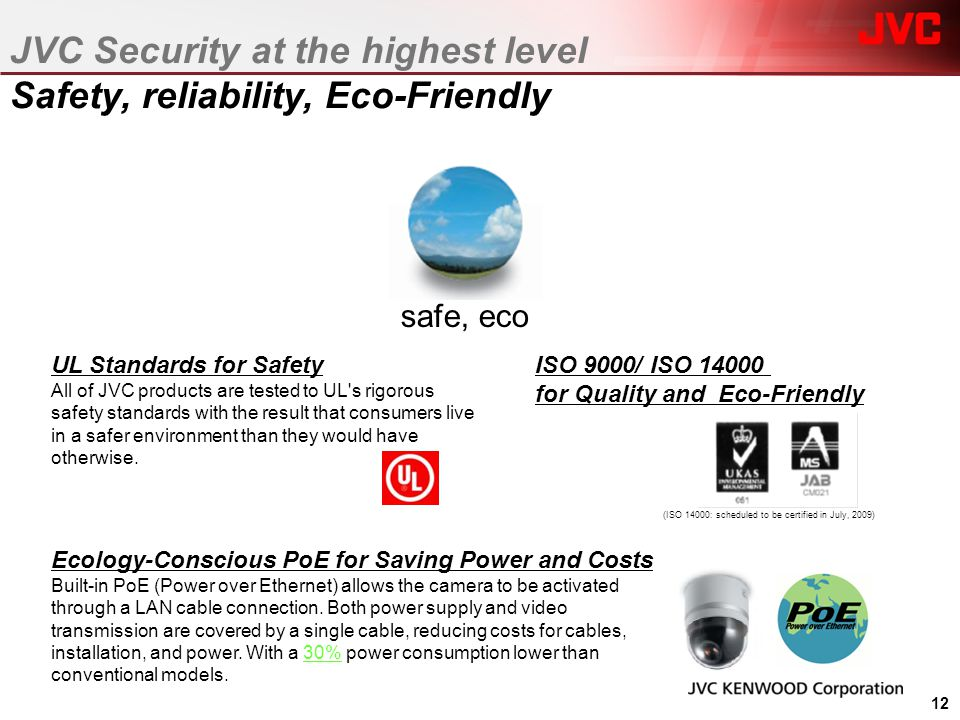 JVC Security at the highest level Safety, reliability, Eco-Friendly