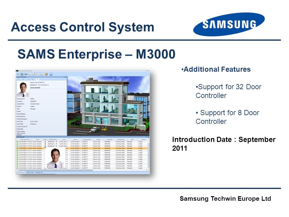 Access Control System SAMS Enterprise – M3000 Additional Features