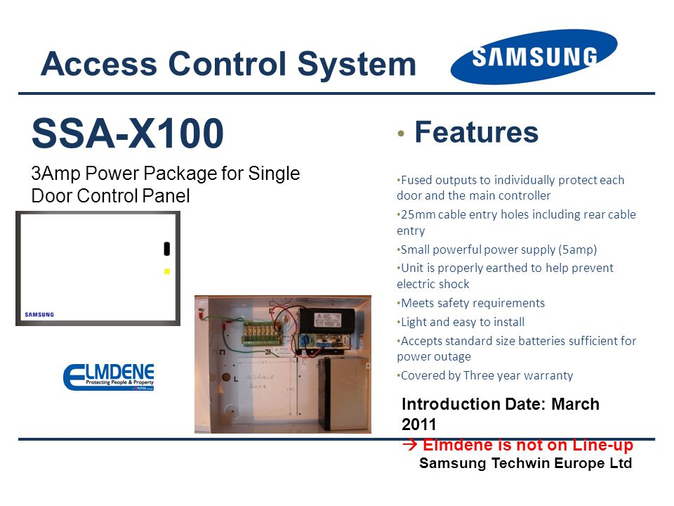 SSA-X100 Access Control System Features
